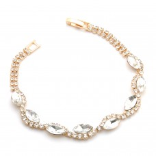 Gold Plated Bridal Bracelet With Clear Crystals