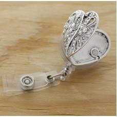 Silver Heart Oil Diffusing Retractable Badge Holder
