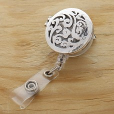 Silver Filigree Oil Diffusing Retractable Badge Holder