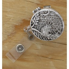 Silver Small Owl Oil Diffusing Retractable Badge Holder