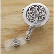 Silver Tree Of Life Oil Diffusing Retractable Badge Holder