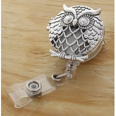 Silver Large Owl Oil Diffusing Retractable Badge Holder