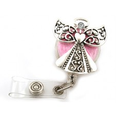 Silver Guardian Angel On Pink Enameled Background Retractable Badge Holder