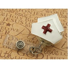 Enameled Nurse Hat Retractable Badge Holder
