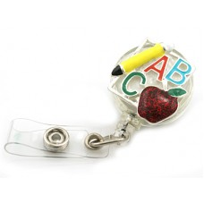 ABC Teacher Enameled Retractable Badge Holder in Silver