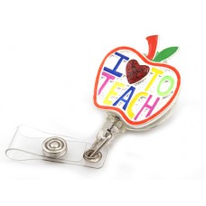 """I Love To Teach"" Enameled Retractable Badge Holder With Silver Accent"