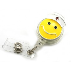 Enameled Smiley Face With Nurses Hat Retractable Badge Holder