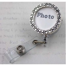 Silver Photo Holder Retractable Badge Holder