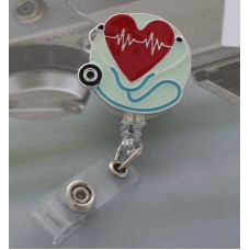 Enameled Heartbeat And Stethoscope Retractable Badge Holder