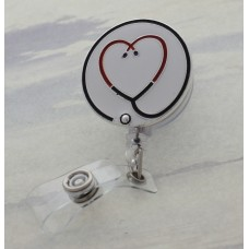 Enameled Heart Shaped Stethoscope Retractable Badge Holder