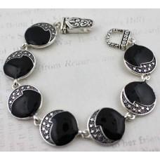 Round Black with Stars Link Magnetic Bracelet - Silver