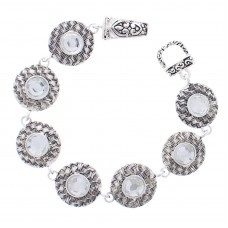 Round Basket Weave and Rhinestone Link Magnetic Bracelet - Silver