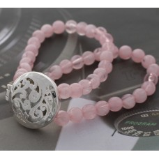 Double Strand 8mm Beaded Oil Diffusing Bracelet with Silver Filigree Tree of Life - Pink
