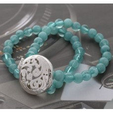 Double Strand 8mm Beaded Oil Diffusing Bracelet with Silver Filigree Tree of Life - Turquoise