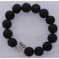 """Black Lava Bead Stretch Bracelet With Silver """"Made with Love"""" Accent"""