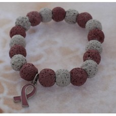 Pink Ribbon Lava Bead Stretch Bracelet