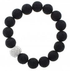 Black Lava Bead Stretch Bracelet with Silver PavéAccent Bead