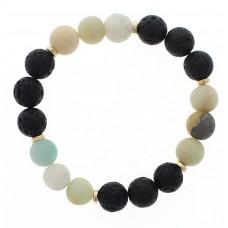 Natural Stone and Black Lava Bead Stretch Bracelet