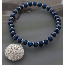 Blue Crystal Cut Beaded Stretch Bracelet with Silver Filigree Charm