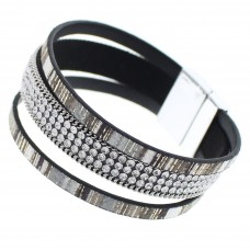 Black Wrap Crystal Bracelet With Metallic Accent Bands