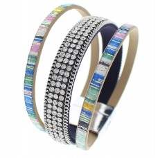 Dark Blue Wrap Crystal Bracelet With Metallic Accent Bands