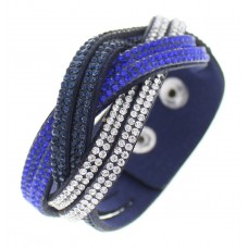 Cobalt and Navy Rhinestone Wrap Bracelet