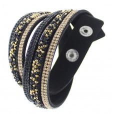 Gold and Black Crystal Wrap Bracelet