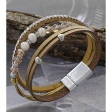 Brown Synthetic Leather Wrap Bracelet Accented With Silver Beads, Crystals And Pearls