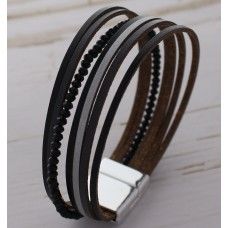 Black And Gray Synthetic Leather Wrap Bracelet With Crystal Bead Accent Band