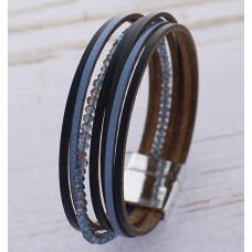 Black And Dark Blue Synthetic Leather Wrap Bracelet With Crystal Bead Accent Band