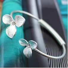 Flower Bangle Hinge Bracelet with Stone Accent - Silver