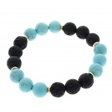 Natural Turquoise and Lava Bead Stretch Bracelet