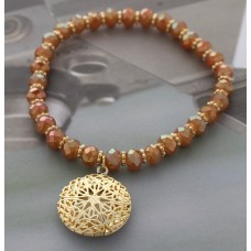 Iridescent Peach Crystal Cut Beaded Stretch Bracelet with Gold Filigree Star Charm