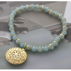 Turquoise Crystal Cut Beaded Stretch Bracelet with Gold Filigree Star Charm
