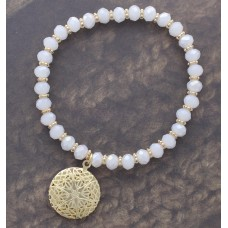 Iridescent White Crystal Cut Beaded Stretch Bracelet with Gold Filigree Star Charm