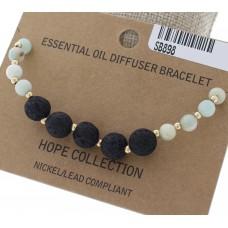 Lava Bead and Amazonite Stone Stretch Bracelet