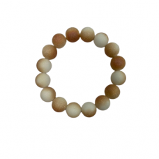 12 mm Lava Bead Stretch Bracelet - Peach