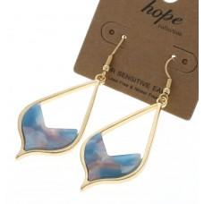 Teardrop Acrylic Swirl Earrings - Turquoise