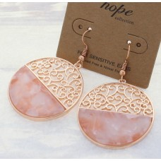 Rose Gold Filigree And Acrylic Round Earrings - Pink