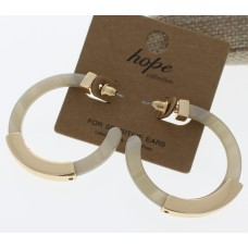 Gold and Acrylic Hoop Earrings - Taupe