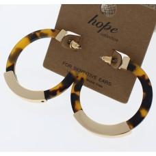 Gold and Acrylic Hoop Earrings - Tortoise Shell