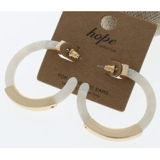 Gold and Acrylic Hoop Earrings - White
