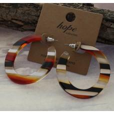 Acrylic Stripe Hoop Earrings