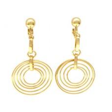 Multi Circle Dangle Clip Earrings - Gold