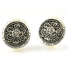 Hammered Round Button Clip Earrings- Silver