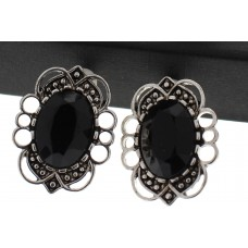 Antique Silver and Stone Clip Earrings - Black