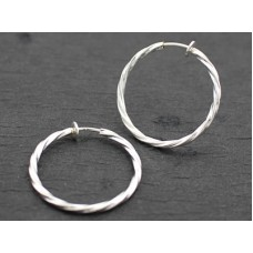 Clip Hoop Earrings-Cut - Silver