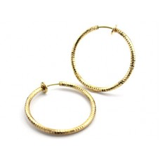 Clip Hoop Earrings-Cut - Gold Large
