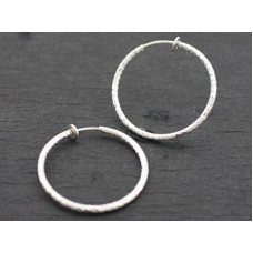 Clip Hoop Earrings - Large - Silver