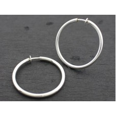 Clip Hoop Earrings - Silver Medium